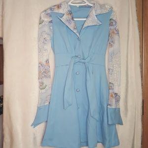 Vintage 70s blue floral dress!